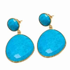 Turquoise Blue Gemstone Earring Fancy Shape Earring