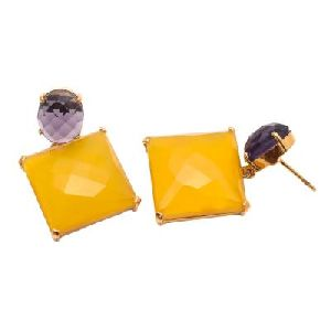 Yellow Chalcedony And Amethyst Gemstone Earring