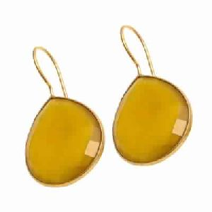 Yellow Chalcedony Earring Pear Shape Earring