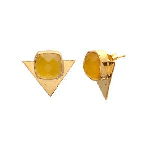 Yellow Chalcedony Trillion Shape Earring