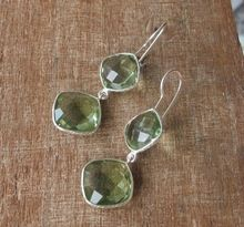 Handmade Faceted Green Amethyst Quartz Gold Plated Dangling Gemstone Earring