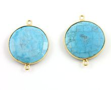 Vermeil Gold-925 sterling silverTurquoise Gemstone connector