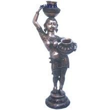 Brass sculpture Lady with Pot metal brass