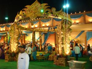 Peacock Pillars Round Wedding Mandap