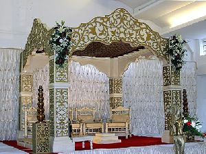 White & Golden Mandap for Wedding