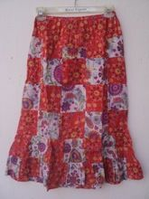 new classic Red color long printed cotton material skirt