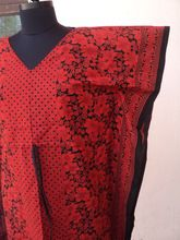 Wholesale printed floral patterns tunics dresses red kaftan