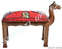 Embroidery Camel Upholstery Wooden Stool