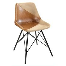 Giron Iron Leather Canvas Dining Chair