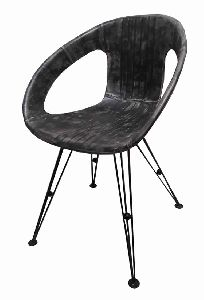 Industrial Comfortable Leather Round Seat Leisure Chair, Dining Arm Chair