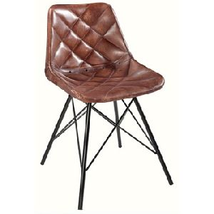 Industrial Giron Iron Dark Brown leather Dining Chair