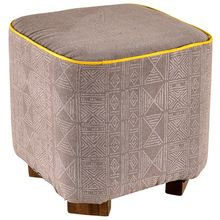 Printed Canvas Upholstery Stool