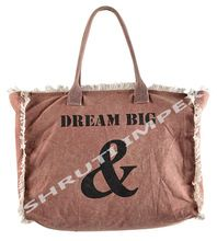 SHOPPING LEATHER HANDLES BAG