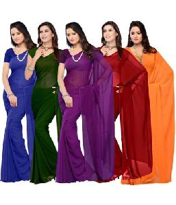 Georgette Plain Sarees