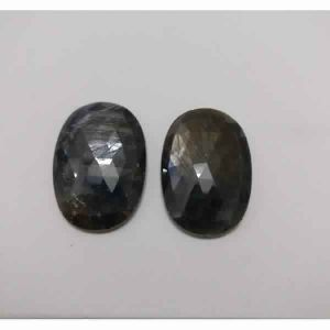 NATURAL BLUE SAPPHIRE GEMSTONE PAIR OVAL SHAPE ROSE CUT STONES