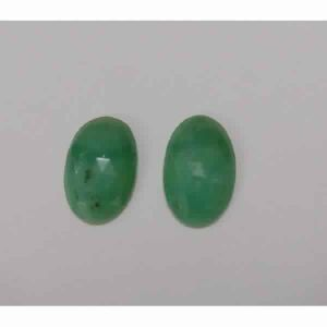 NATURAL CRYSOPHRASE GEMSTONE PAIR OVAL SHAPE ROSE CUT STONES