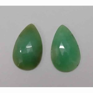 NATURAL CRYSOPHRASE GEMSTONE PAIR PEAR SHAPE ROSE CUT STONES