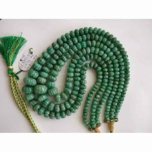NATURAL EMERALD GEMSTONE MELON CUT MELON ROUNDEL BEADS NECKLACE