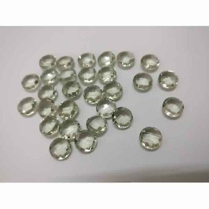 NATURAL GREEN AMETHYST ROUND SHAPE BOTH SIDE CHEKAR CUT STONES