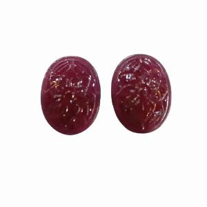 Natural Ruby Glass Filled Gemstone Oval Shape Hand Carved Carving Pair Stones LGS72