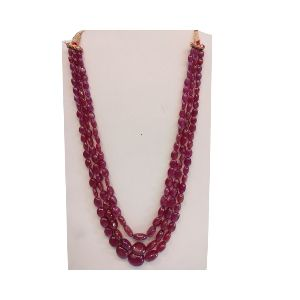 Natural Ruby Glass Filled Gemstone Plain Hand Polished Oval Stone Beads 3 Strings Necklace GSN92