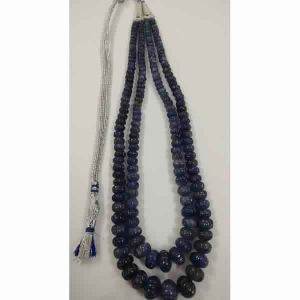 NATURAL TANZANITE GEMSTONE 6-14MM MELON CUT ROUNDEL BEADS NECKLACE