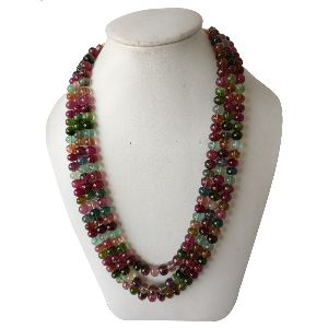 NATURAL TOURMALINE GEMSTONE ROUNDEL BEADS 3 STRINGS NECKLACE