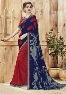 The Blaze Of Print Faux Georgette Saree