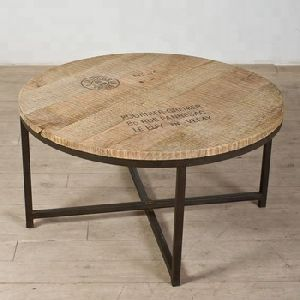 Industrial and vintage Iron metal & solid mango wood round Coffee table
