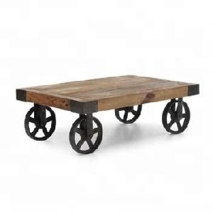 vintage Iron metal solid wood cart coffee table