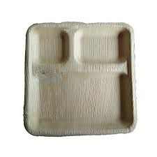 Areca Leaf Rectangle 3CP Plate