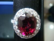 Diamond Ring with Rhodolite Garnet