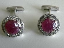 Ruby Carving Cufflink