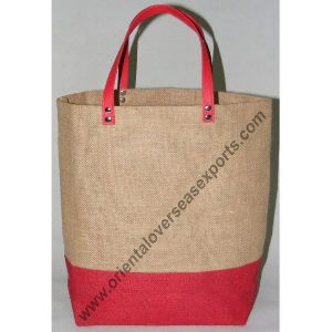 Jute Bag With PVC Leather Handles