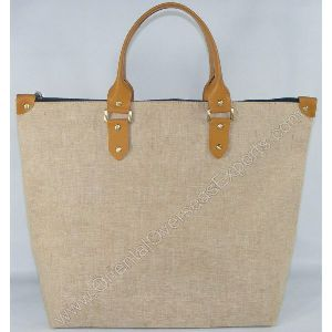 Jute Cotton Bag With Leather Handles and Trims