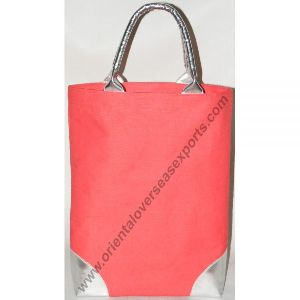 Jute Cotton Bag With Leather Look Handles