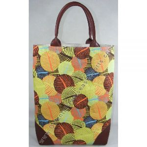 Printed Juco Bag with Leather