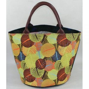 Round Bottom Printed Jute Bag With Real Leather Handles