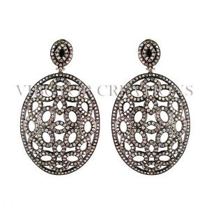 14k Gold Pave Diamond 92.5 Silver Flower Design Round Earrings Drop Jewelry