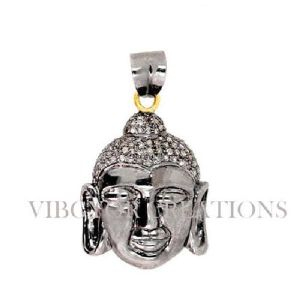 14k Gold Pave Diamond 925 Sterling Silver Laughing Budhha Pendant Jewelry