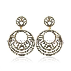14k Pave Diamond 925 Sterling Silver Pave Setted Earrings New Design Jewelry