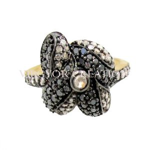 2017 Handmade Pave Diamond 925 Sterling Silver 14k Gold Band Flower Ring Jewelry