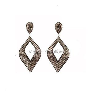 Solid Sterling Silver Pave Setted Diamond Earring