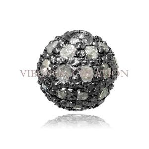 92.5 Sterling Silver Diamond Pave Setted Pave Diamond Bead Ball Finding 6mm Bead