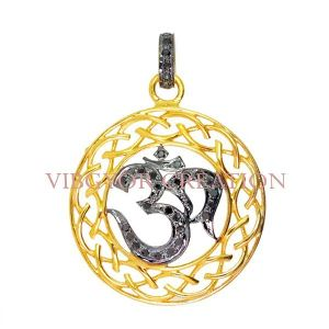 925 Sterling Silver Pave Diamond Om Charm Locket God Pendant Jewelry