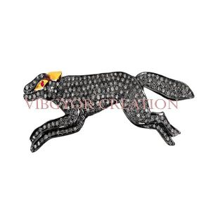 Animal Charm Pave Diamond 925 Sterling Silver Finding Pendant