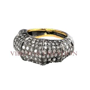 Antique Pave Diamond Wedding Proposal Band 14k Gold Ring