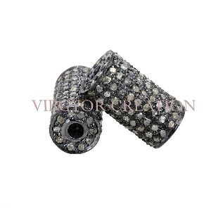 Beautiful 925 Sterling Silver Connector Pave Setted Diamond Bead Finding Jewelry