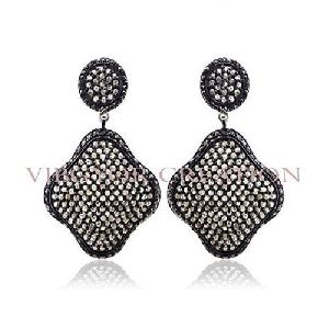 Black Pave Diamond 14k Gold Cushion Dangler Earring 925 Sterling Silver Jewelry