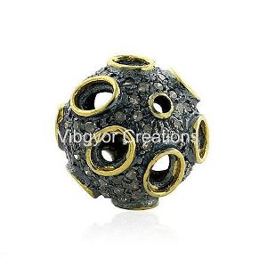 Gold Whole Bead Looking Pretty Pave Setted Pave Diamond Finding 925 Silver